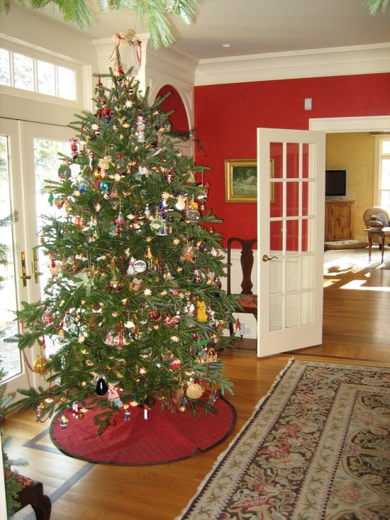 The red dining room with Stark carpet and Christmas tree with antique ornaments